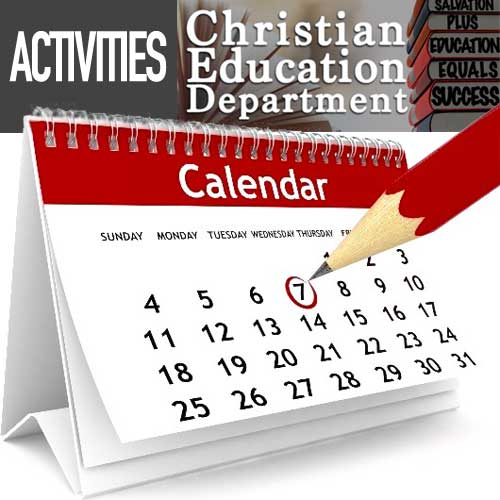 Christian Education Department Activities Calendar