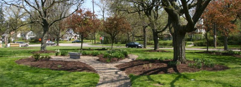 memorial garden in spring