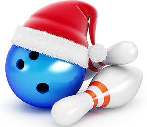 Bowling ball in a Santa hat